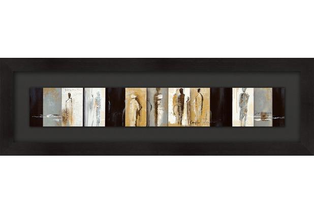 Holländer Wandbild QUARTIERE Holz schwarz-ocker-weiss-grau