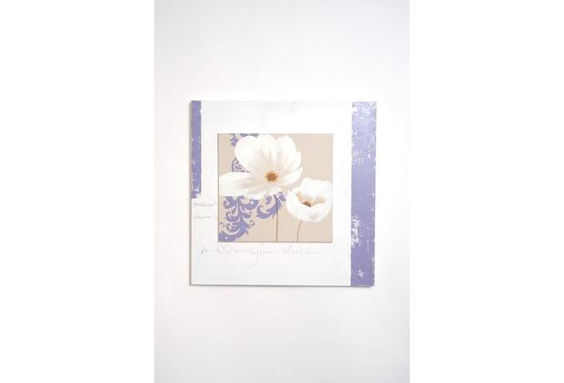 Holländer Wandbild SEZIONE Leinwand weiß beige violett - Rahmen Holz