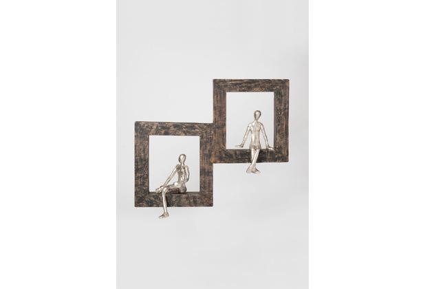 Holländer Wanddeko SEPARATO Mangoholz schwarz Figuren Aluminium silber