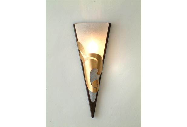 Holländer Wandleuchte 1-flg. ONDULATA Eisen braun-gold - Glas weiß gesandet
