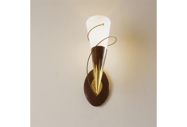 Holländer Wandleuchte 1-flg. TORCIA SPIRALE Eisen braun-gold - Glas weiß opal