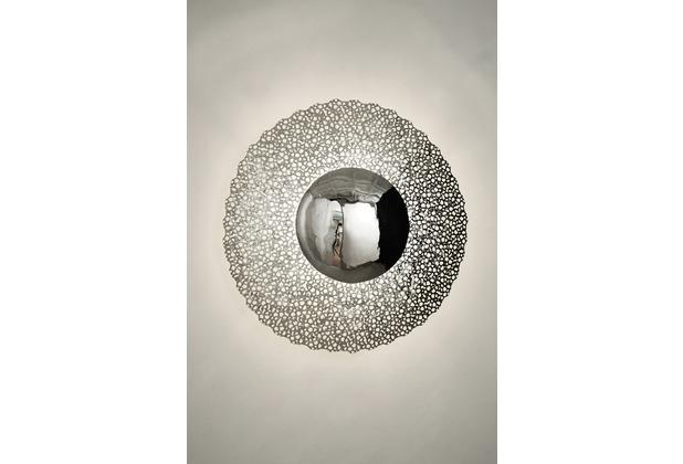 Holländer Wandleuchte 2-flg. UTOPISTICO CIRCA Eisen silber - runde Blende silber (nicht verchromt)