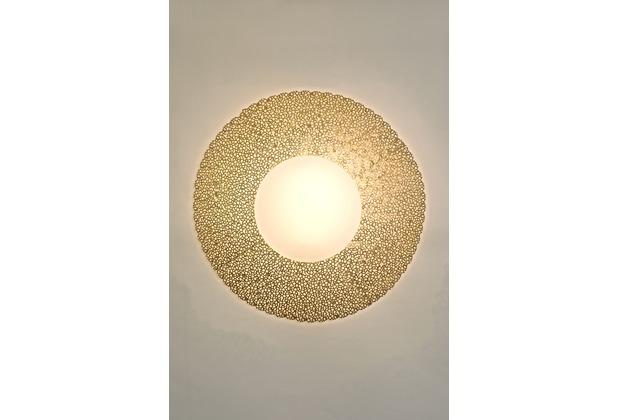Holländer Wandleuchte 2-flg. UTOPISTICO GRANDE Eisen gold - Glas weiß opal