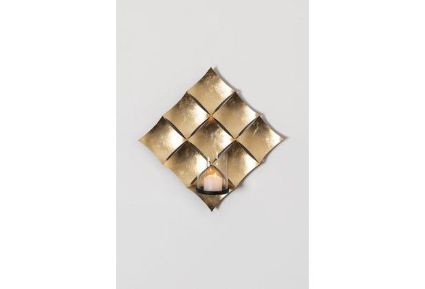 Holländer Wandwindlicht 1-flg. CROCIATO Eisen blattvergoldet gold Glashalterung schwarz