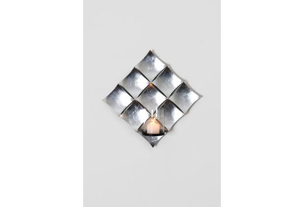 Holländer Wandwindlicht 1-flg. CROCIATO Eisen blattversilbert silber Glashalter Metall schwarz