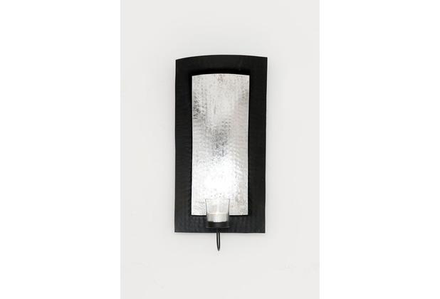 Holländer Wandwindlicht 1-flg. DESERTO RETTANGOLO Eisen silber-schwarz blattversilbert