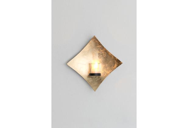 Holländer Wandwindlicht 1-flg. SEMPLICE Eisen blattvergoldet gold Glashalter schwarz
