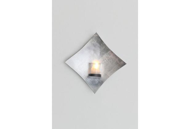 Holländer Wandwindlicht 1-flg. SEMPLICE Eisen blattversilbert silber Glashalterung schwarz