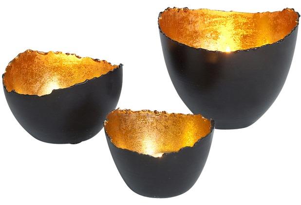 Holländer Windlicht-set 3-tlg. VENATO Metall schwarzbraun-gold