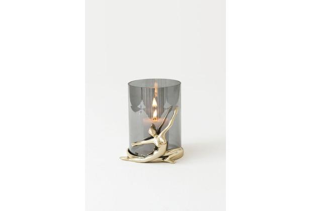 Holländer Windlicht 1-flg. ATLETA Aluminium poliert gold rauchgraues Glas, Figur sitzend