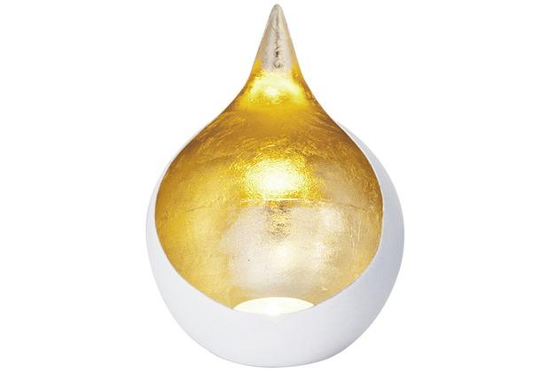 Holländer Windlicht 1-flg. CANESTRO Metall weiß-gold
