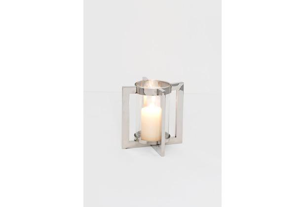 Holländer Windlicht 1-flg. COPERTO PICCOLO Aluminium vernickelt und poliert silber Glas klar