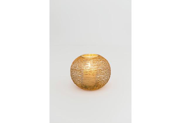 Holländer Windlicht 1-flg. NOMADE GRANDE Eisen gold Glas klar