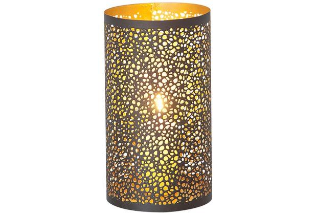 Holländer Windlicht 1-flg. PUNTI MITTEL Metall außen kupfer-braun innen gold