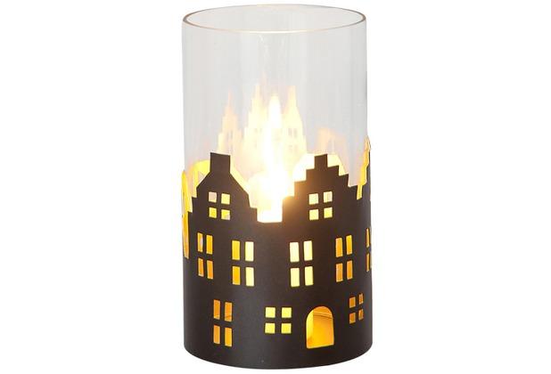 Holländer Windlicht 1-flg. SKYLINE KLEIN Metall außen kupfer-braun innen gold - Glas klar, Häuser
