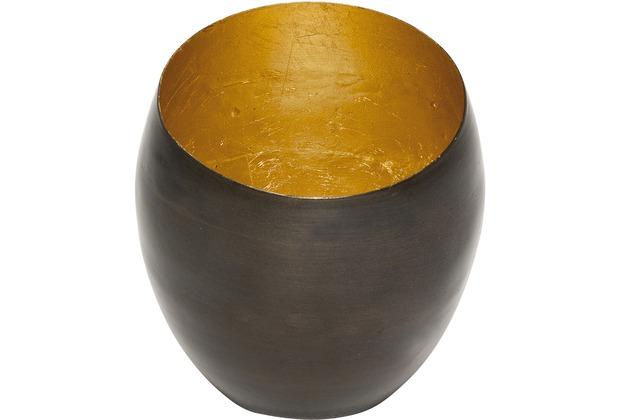 Holländer Windlicht ABETE KLEIN Metall bronze-braun - innen blattvergoldet
