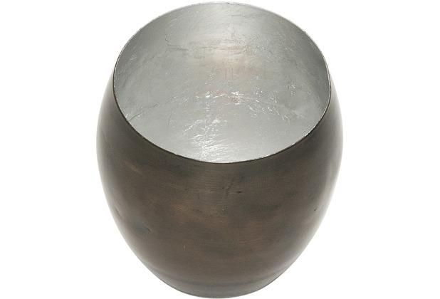 Holländer Windlicht ABETE KLEIN Metall bronze-braun - innen blattversilbert