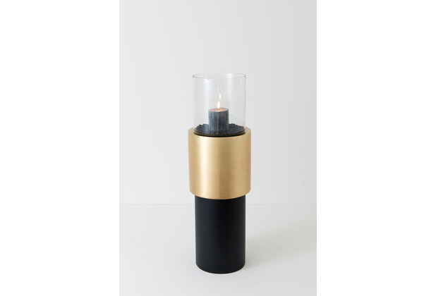 Holländer Windlicht BATTERIA MEDIUM Aluminium gold-schwarz klares Glas