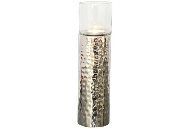 Holländer Windlicht GRAZIOSO GROSS Aluminium vernickelt - Glas klar