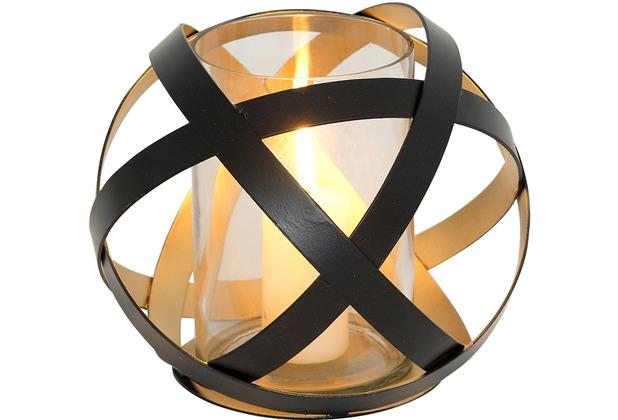 Holländer Windlicht LA RETE GROSS Metall schwarz - innen gold - Glas