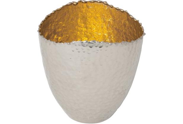 Holländer Windlicht RIVOLUZIONE MITTEL Metall silber vernickelt - innen gold