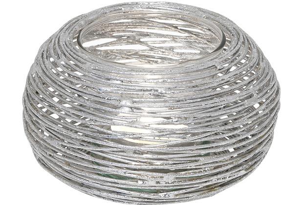 Holländer Windlicht VESPAIO Metall silber - Glas