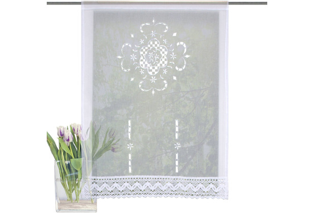 Home Wohnideen Fensterbehang Leinenstruktur Bestickt Weiss 100 x 60 cm