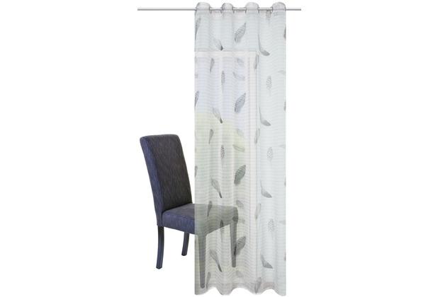 Home Wohnideen Ösenschal Voile Druck Feder Grau 245 x 140 cm