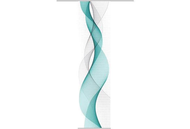 Home Wohnideen Schiebevorhang Dekostoff Digitaldruck Opalia Türkis 245 x 60 cm