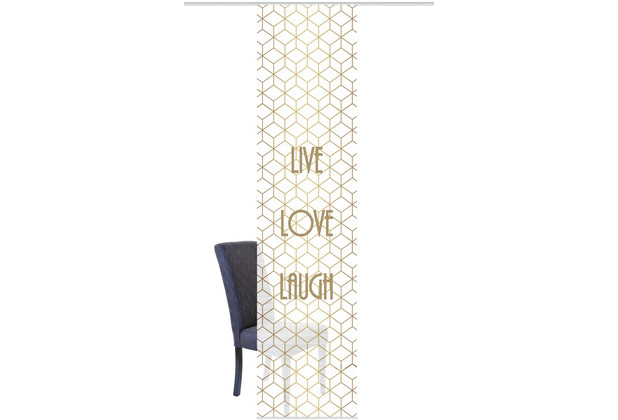 "Home Wohnideen Schiebevorhang Digitaldruck Bambus-optik ""live Love Laugh\"" Gold 260 x 60 cm"