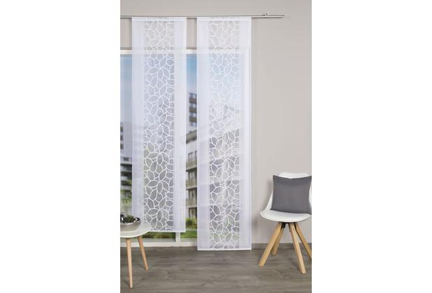 Home Wohnideen Schiebevorhang Jacquard Blätter Weiss 125 x 57 cm