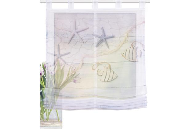 Home Wohnideen Schlaufenraffrollo Effektvoile Digitaldruck Fiscio Blau 140 x 100 cm