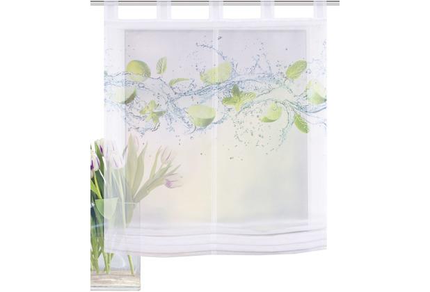 Home Wohnideen Schlaufenraffrollo Effektvoile Digitaldruck Lemona Grün 140 x 100 cm