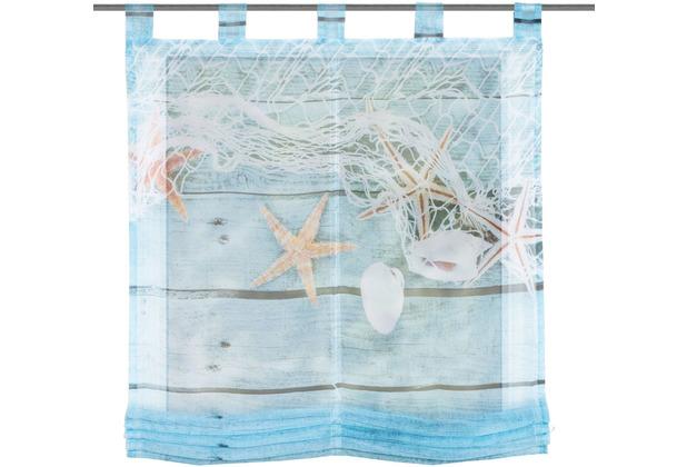 """Home Wohnideen Schlaufenraffrollo Voile Digitaldruck \""""maritim\"""" Blau 140 x 100 cm"""