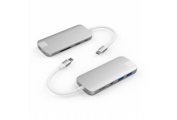 HYPER Drive SLIM Hub 8-in-1, Apple MacBook & USB-C Notebooks, silber, HD247B-SILVER