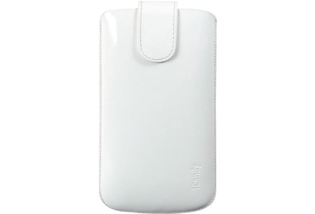 iCandy Echtledertasche FLASH für Samsung Galaxy S4, glanz-weiß