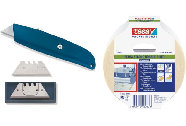 ilima Bodenverlegeset - Cuttermesser/Teppichmesser + Trapezklingen Hakenklingen + 25m Tesa Verlegeband doppelseitiges PVC + Teppich-Klebeband