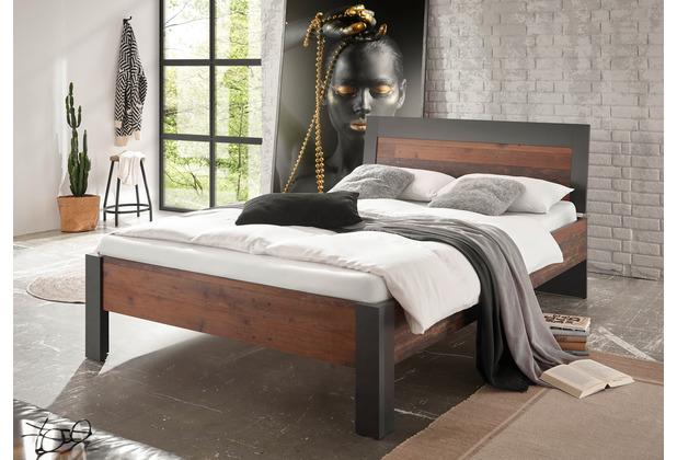IMV Bett Brooklyn 140x200 cm Holzkopfteil schwarz/braun
