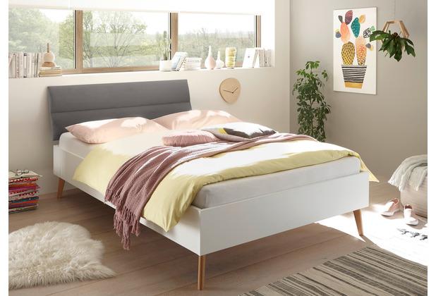 IMV Bett Merle 140 cm mit Polsterkopfteil Grau weiß matt / Eiche Riviera Nachbildung