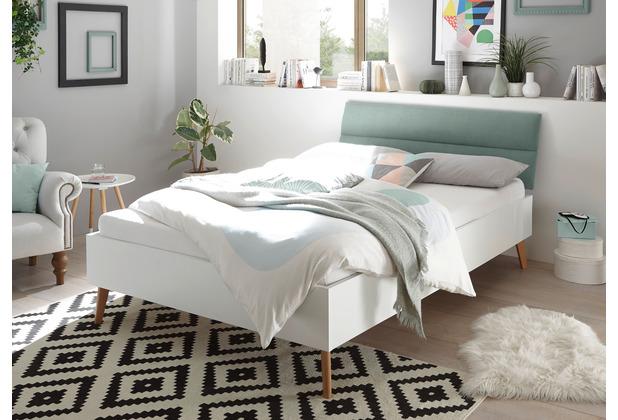 IMV Bett Merle 140 cm mit Polsterkopfteil Mint weiß matt / Eiche Riviera Nachbildung