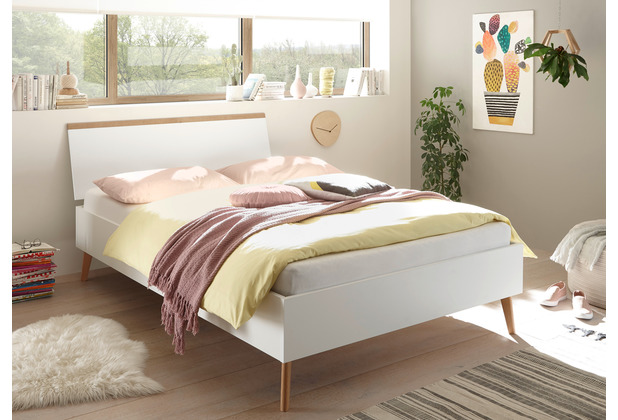 IMV Bett Merle 140 cm weiß matt / Eiche Riviera Nachbildung