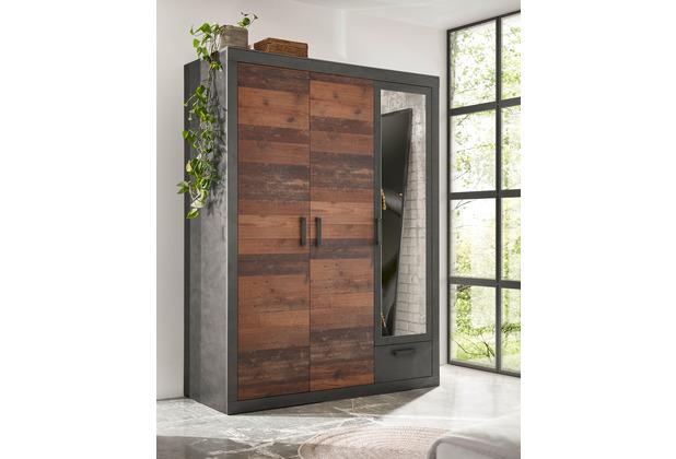IMV Kleiderschrank Brooklyn mit drei Türen schwarz/braun 150x201 cm