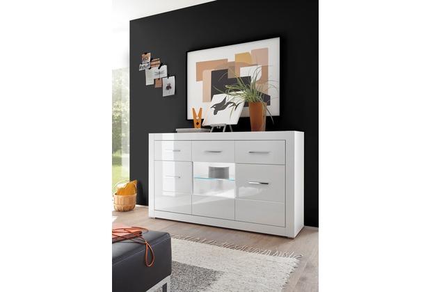 IMV Sideboard Bianco, weiß mit Vitrine