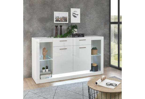 IMV Sideboard Meran weiß / weiß hochglanz 150 x 83 x 43