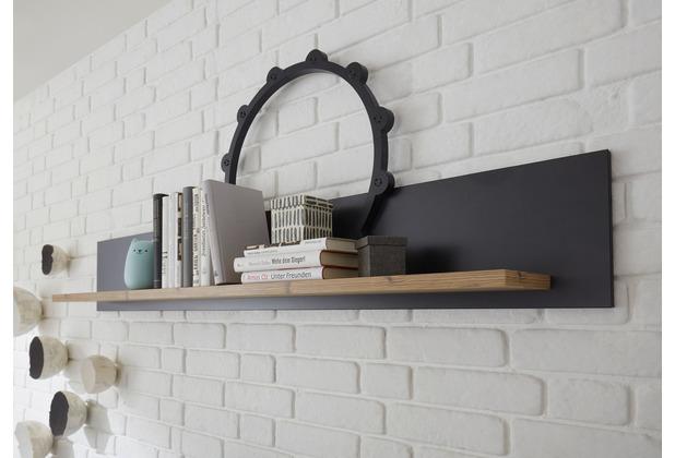 IMV Wandboard Brügge, Rückwand schwarz, Regal mit Holz-Dekor 153 cm