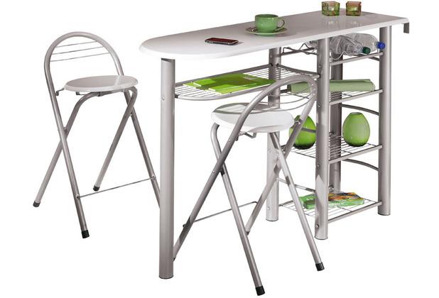 Inter Link Küchen Bar \'Frida\' incl. 2 Hocker weiss