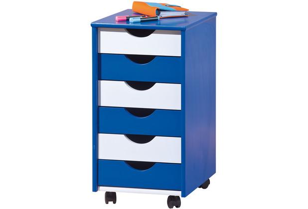 Inter Link Rollcontainer \'Beppo\' blau/weiss lackiert 6 SL