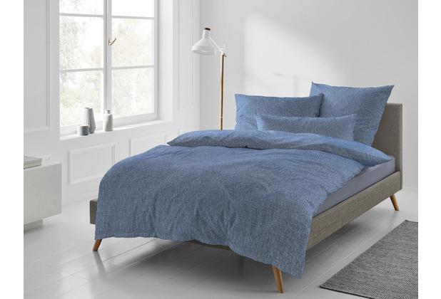 irisette Mako-Satin Bettwäsche Set Carla 8253 blau 135x200 cm, 1 x Kissenbezug 80x80 cm