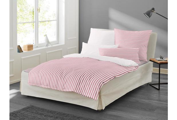 irisette Mako-Satin Bettwäsche Set Nora 8255 rosa 135x200 cm, 1 x Kissenbezug 80x80 cm