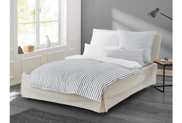 irisette Mako-Satin Bettwäsche Set Nora 8255 silber 135x200 cm, 1 x Kissenbezug 80x80 cm